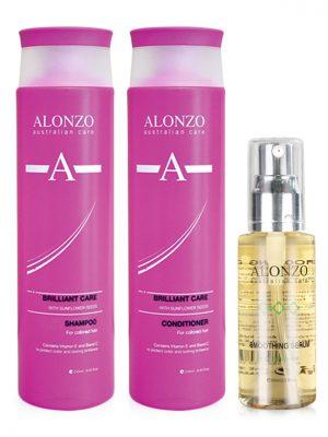 Combo Dầu gội xả vàTinh dầu dưỡng chăm sóc tóc nhuộm Alonzo Brilliant Care