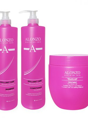 Combo dầu gội xả và kem hấp chăm sóc tóc nhuộm Alonzo Brilliant Care