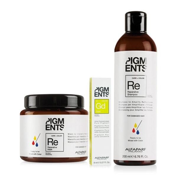 Combo dưỡng màu cho tóc nhuộm vàng và hư tổn Alfaparf Reparative Pigments Gold