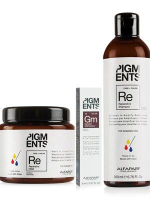 Combo dưỡng màu cho tóc nhuộm vàng ánh đỏ và hư tổn Alfaparf Reparative Pigments Golden Mahogany