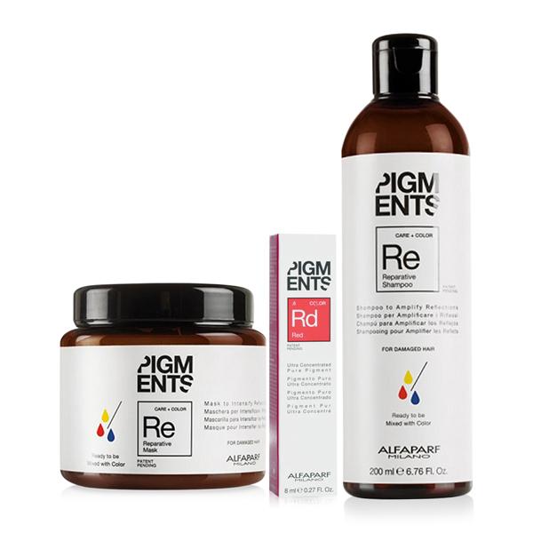 Combo dưỡng màu cho tóc nhuộm đỏ và hư tổn Alfaparf Pigments Reparative Red