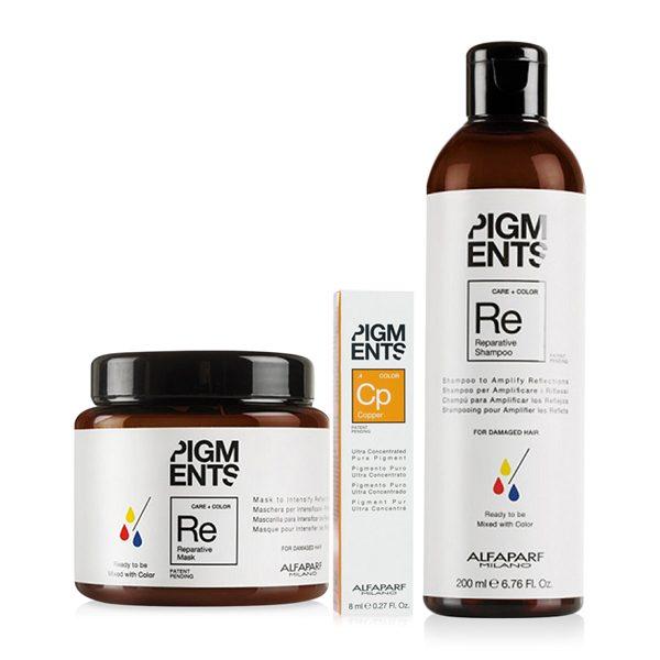 Combo dưỡng màu cho tóc nhuộm đồng và hư tổn Alfaparf Reparative Pigments Copper