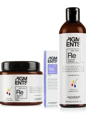 Combo dưỡng màu cho tóc nhuộm tím khói và hư tổn Alfaparf Reparative Pigments Violet Ash