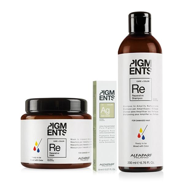 Combo dưỡng màu cho tóc nhuộm khói ánh vàng và hư tổn Alfaparf Pigments Reparative Ash Gold