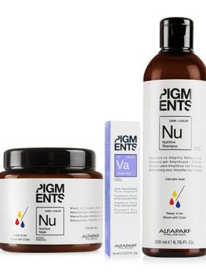 Combo dưỡng màu cho tóc nhuộm tím khói và tóc khô Alfaparf Pigments Nutritive Violet Ash