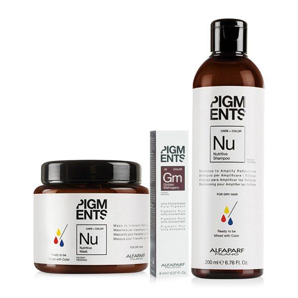 Combo dưỡng màu cho tóc nhuộm vàng ánh đỏ và tóc khô Alfaparf Nutritive Golden Mahogany