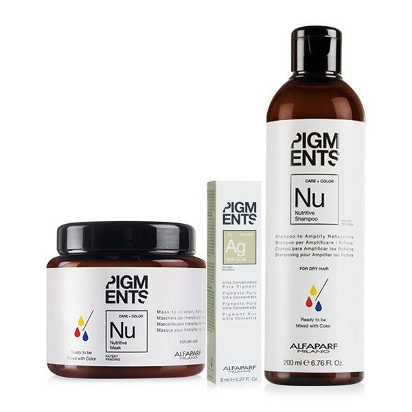 Combo dưỡng màu cho tóc nhuộm vàng khói và tóc khô Alfaparf Pigments Nutritive Ash Gold