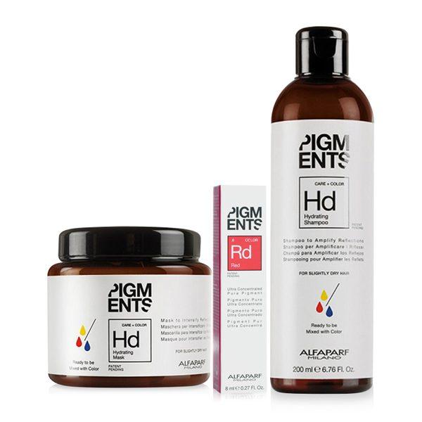 Combo dưỡng màu cho tóc nhuộm đỏ và tóc thường Alfaparf Pigments Hydrating Red