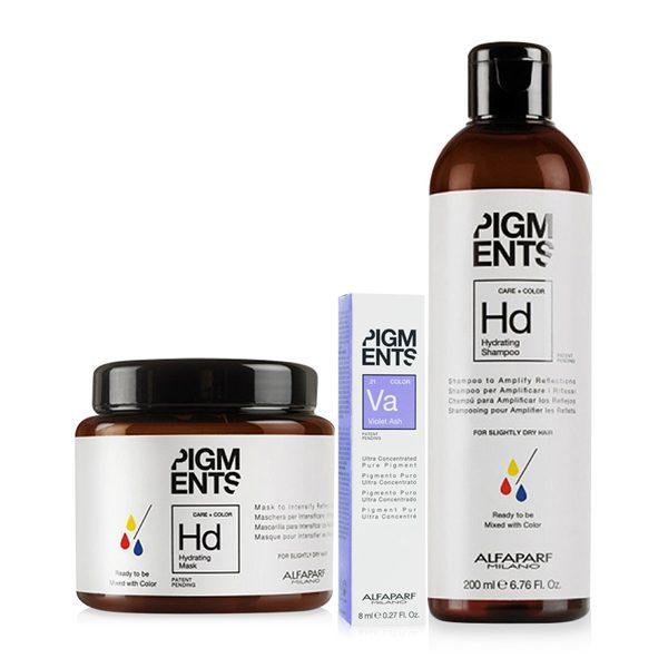 Combo dưỡng màu cho tóc nhuộm tím khói và tóc thường Alfaparf Pigments Hydrating Violet Ash