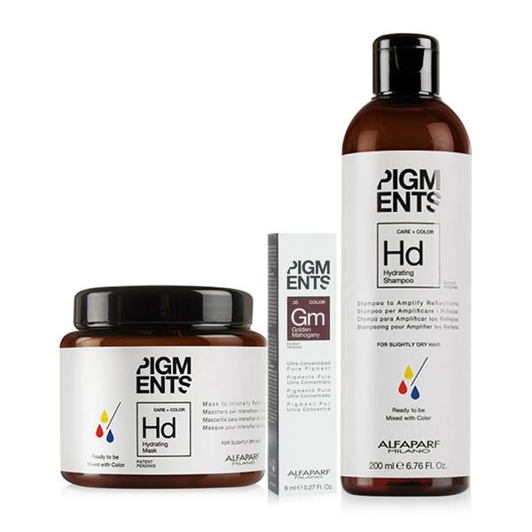 Combo dưỡng màu cho tóc nhuộm vàng ánh đỏ và tóc thường Alfaparf Pigments Golden Mahogany