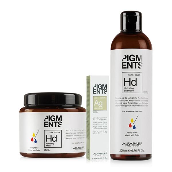 Combo dưỡng màu cho tóc nhuộm vàng khói và tóc thường Alfaparf Pigments Hydrating Ash Gold